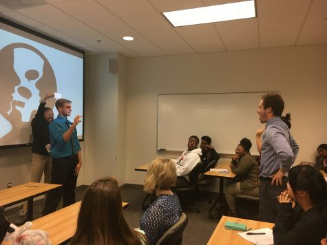 Bryce Trant ('17) and Bryant Ricks ('18) presented on what can't be seen in a writing center: making everyone involved in the center feel more comfortable.