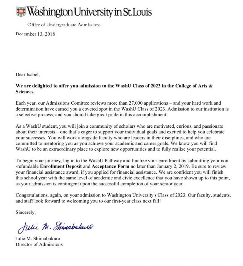 Acceptance letter from Washington University
