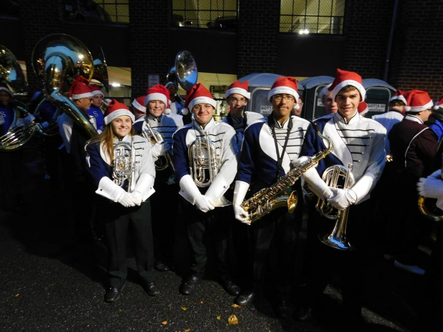 The band wore santa hats to add to the Christmas theme.