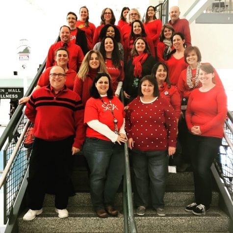 Colonial Forge teachers wearing Red for Ed.